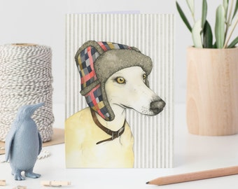 Dog note card - whippet greetings card - whippet art - watercolour dog card