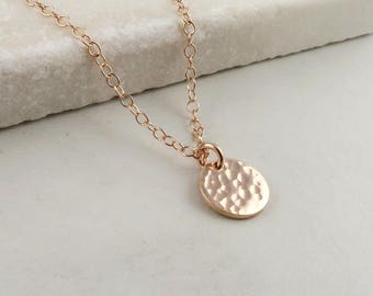 Rose Gold Dot Necklace, hammered dainty rose gold disc necklace, layering jewelry