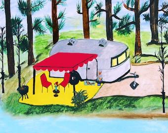 Air stream retro camper by the lake art canvas wrap.