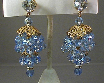 Ice Blue Crystal Chandelier Clip Earrings