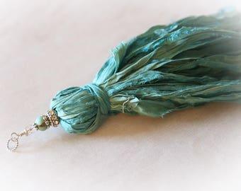 Long Sari Silk Ribbon Tassel Pendant - For DIY Crafts & Jewelry Making. Color - Turquoise Blue