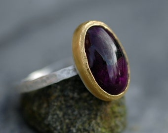 ON SALE: Purple Sugilite Ring in 22k Yellow Gold and Thick Hammered Sterling Silver Band- Ready to Ship size 7.5
