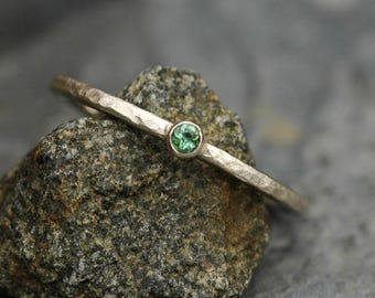 Green Tourmaline on Thin Solid Recycled 14k White Gold Stacking Engagement Ring Made to Order