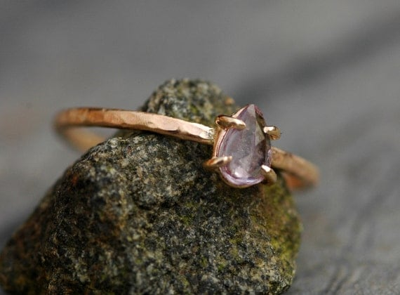 Rose Cut Coloured Sapphire in Recycled 14k Gold Ring- Made to Order