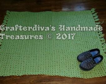Rug, Yarn Rug, Throw Rug, Handcrocheted Throw Rug, Handmade Throw Rug, Home Decor, Green Throw Rug,