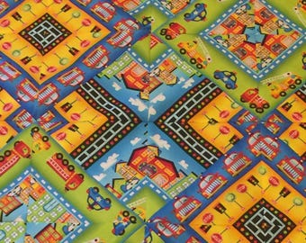 BE MY HERO Baby Quilt Kit - Crib Quilt finished size 42 x 56 - fire truck - police car - hospital - city