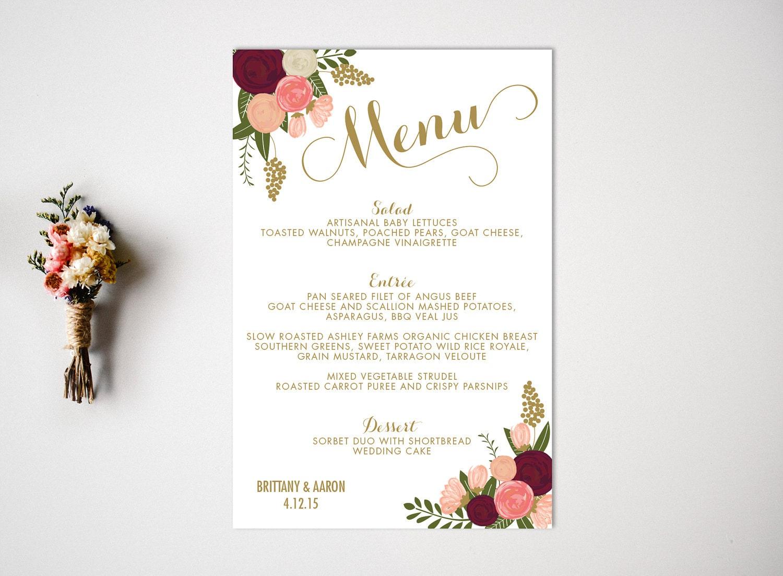 Wedding Menu Reception Vintage Wedding Decor Wedding Dinner Menu