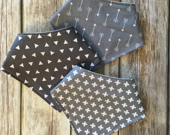 Baby Toddler Drool Bib Bandana Bibdana Waterproof - You Choose the Fabric - trendy neutral grey gray crosses triangles arrows geometric