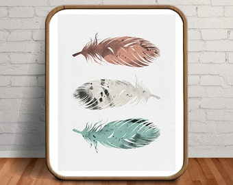 Feather Print, Pastel Wall Art, Bohemian Decor, Watercolour Painting, Feather Wall Art, Coral and Mint Decor, Pastel Art, Nursery Decor