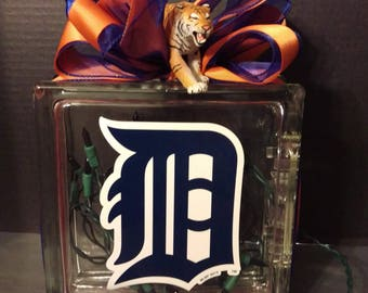 Detroit Tigers Lighted Glass Block Nightlight/Table Decoration