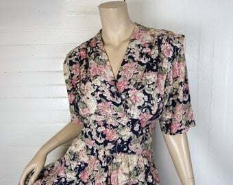 90s does 40s Floral Print Dress- Navy Blue & Rose- 1990s Short Sleeve Maxi