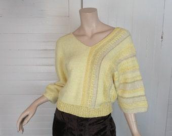 80s Asymmetric Angora Sweater- 1980s New Wave / Avant Garde- Pale Yellow
