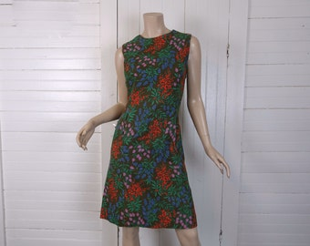 60s Mod Shift Dress in Olive Green Floral- 1960s Cotton- Medium