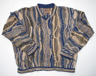 COOGI Sale Classic Australia size L/M Linen Cotton Button Crewneck Sweater Measures out Like a Medium Coogi Heathered Multicolor Beach Tones