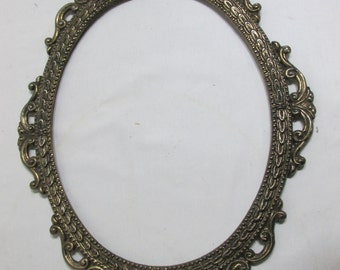 Picture Frames Brass Oval Ornate Open with No Glass or Backing 10 x 12
