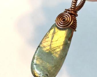 Handmade wire wrapped pendant Labradorite