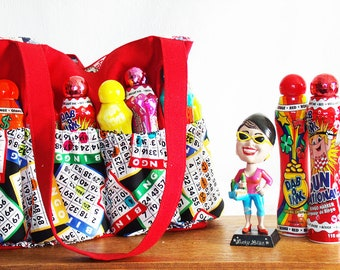 Bingo Bag, Bingo Lover's Bingo Handbag, bingo tote, bingo/handbag in one!, Canvas bingo bag in 5 color choices