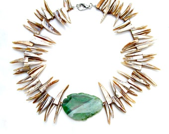 STATEMENT Fringe Necklace Champagne Gold Shell Mother of Pearl Green Agate Slab Center Goddess Tribal Boho Chic Style Mei Faith