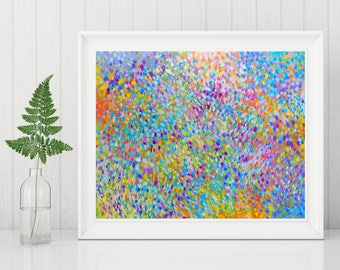 Abstract Art Printable - Abstract Impressionist Painting - Abstract Art Print - Instant Download Print - Rainbow Wall Art - 8x10 11x14