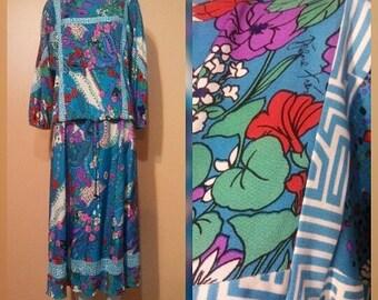 Designer Diane Freis Silk Skirt Blouse Set / Silk Jersey / Floral Pointillism Separates / Bold Pattern / Signed fabric / Top shelf deigner