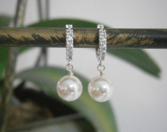 CZ Silver Hoops, White Swarovski Pearls Earrings, Bridal Jewelry, Bridesmaid Earrings, Wedding Jewlery, Mothers Day Jewelry