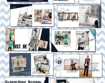 Senior Album,2017-2020 Urban Denim -10x10in. Senior Boy Album,- photo book, graduation album, photoshop template*Instant Download*10 x10