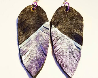 Painted Leather Faux Feather Earrings Large Blue Black Purple Metallic Surgical Steel Wires Bohemian Jewelry