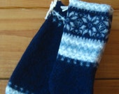 ON SALE!! Christmas Stocking Set 2 Small Size Navy Felted Wool Stockings Free US Shipping