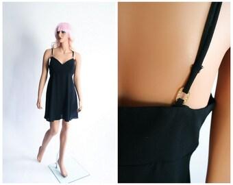 90s Babydoll Mini Dress 1990s LBD Party Dress Black Kawaii Dolly Cocktail Dress Soft Grunge Glitter Goth Fit and Flare Glam Small Medium