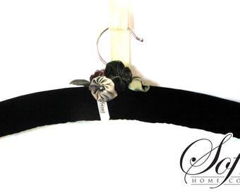 Silver & Emerald Hanger | Single Clothes Hanger | Black, No Slip Velvet | Green Accent Blossoms | Mother's Day Gift Idea | Handmade in USA