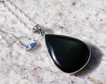 Obsidian Teardrop Pendant Necklace in Sterling Silver Setting and Openwork Bail on Twisted .999 Silver-plated Singapore Chain
