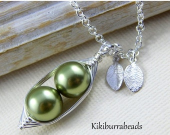 Christmas Sale Peas In A Pod Necklace - Two Peas In A Pod Personalized Necklace Choose Your Swarovski Pearl Color