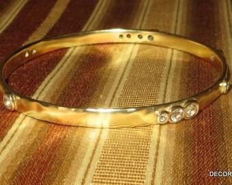 MiJa Jewelry 18k over Sterling Bangle Bracelet Topaz Stone