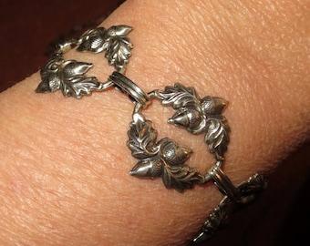 Danecraft Sterling Silver Acorn Bracelet Panel Acorn Designer Signed