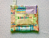 kindness bible verse hand quilted insulated potholder with loop to hang