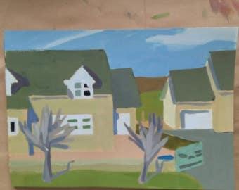 Kitchen window view- original acrylic painting