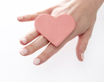 Valentine Pink Heart Ring Ceramic Ring - Ceramic jewelry, big ring, fashion ring, large ring, handmade ring by StudioLeanne