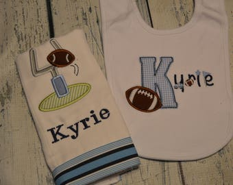 Personalized Baby Bib and Burp cloth Set, Football Baby Boy Monogrammed Gift Set
