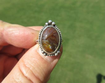 CLEARANCE SALE - Sterling Silver Mexican Fire Agate Ring - Size 8 1/2