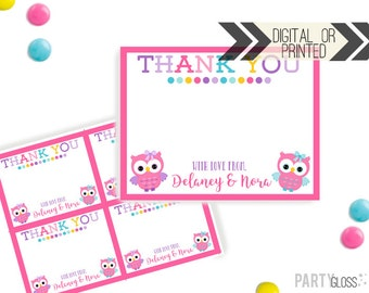 Owl Thank You Card | Owl Theme Thank You | Digital or Printed | Owl Party | Owl Party Thank You Note | Owl Party Invitation