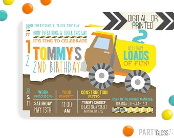 Construction Birthday Invitation | Digital or Printed | Dump Truck Invitation | Truck Invite | Construction Invite | Dump Truck Party