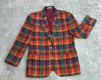 Vintage Plaid Blazer Jacket - Colorful Plaid - 1970s 1980s Jacket - Retro Hipster - Fall Jacket Blazer - Crazy Plaid - Trending - 40 Bust