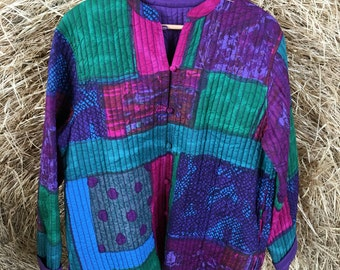 Lightweight Reversible Quilted Jacket - Batik Style - Multi Colored Jewel Tones - Purple Green Blue Pink - Spring Jacket - Up to 43 Bust