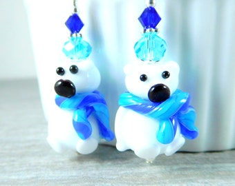 Christmas Earrings, Polar Bear Earrings, Hanukkah Earrings, Blue Aqua White Lampwork Earrings, Teddy Bear Earrings, Winter Holiday Jewelry