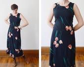 Floral 1990s Black Slip-on Tulip Print Dress - S