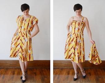 Bird Print 1950s Yellow Cotton Hawaiian Sundress with Matching Jacket - L/XL