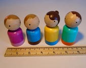 Wooden Toy, Small Wood Peg Doll Set, Peg Family, Simple Gender Neutral Toy, Waldorf inspired, Handmade Kids Birthday gift,Jacobs Wooden Toys