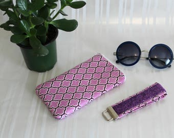 Womens Eyeglasses Holder, Sunglass Case, Padded Eyeglass, Purple Eyewear Case, Reading Glass Case, Key Fob, Sunglass Holder, Gifts for Mom