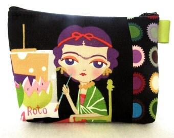 Artist Frida Kahlo Painting Cosmetic Bag Fabric Zipper Pouch Makeup Bag Alexander Henry Fabric Gadget Pouch Self Portrait Black Colorful