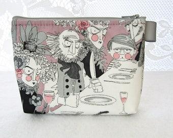 Makeup Bag Ghastlies Dinner Table Fabric Gadget Pouch Cosmetic Bag Fabric Zipper Pouch Zip Pouch Alexander Henry Mauve Ghastlie Night GNM